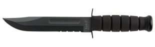 Picture of Full Size Partially Serrated Black KA-BAR® With Black Leather Sheath