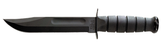 Picture of Full-size Black KA-BAR, Straight Edge and Black Leather Sheath