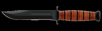 Picture of Short KA-BAR®, USMC, Serrated Edge with Leather Sheath