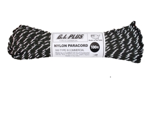 Picture of Black with Reflective Tracers - 100 Foot - 550 LB Type III Paracord