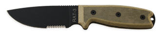 Picture of RAT-3 with 1095 Serrated Blade and Black Sheath by OKC®