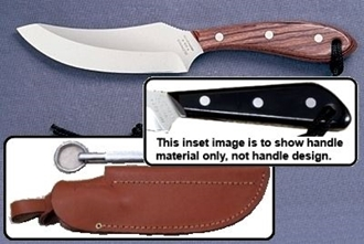 Picture of Grohmann M100SS - #100   Micarta   Stainless Steel   Leather Sheath with Pouch with Sharpening Steel