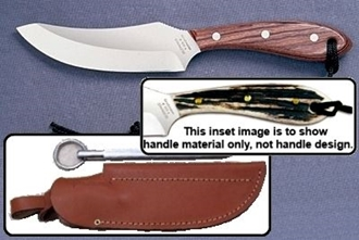 Picture of Grohmann H100CS - #100 | Stag Horn | Carbon Steel | Leather Sheath with Pouch with Sharpening Steel