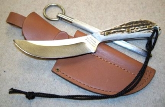 Picture of Grohmann H101SS - #101   Stag Horn   Stainless Steel   Leather Sheath with Pouch with Sharpening Steel