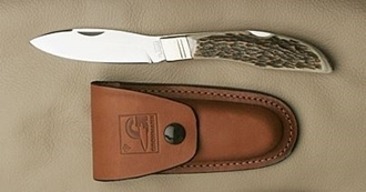 Picture of D.H.Russell Lockblade - Stag Horn Handle - Stainless Steel - Regular Overlap Sheath by Grohmann®