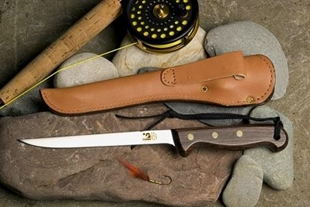 Picture of 8 Inch Fillet Knife Set - Rosewood Handle  - Stainless Steel Blade - Leather Sheath by Grohmann®