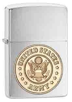 Picture of US Army Emblem on Brushed Chrome Windproof Lighter by Zippo®