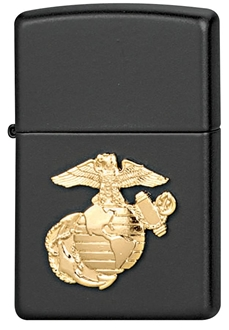 Picture of USMC Emblem on Black Windproof Lighter by Zippo®