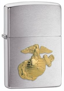 Picture of USMC Emblem on Brushed Chrome - Windproof Lighter by Zippo®