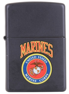 Picture of USMC Emblem on Matte Black - Windproof Lighter by Zippo®