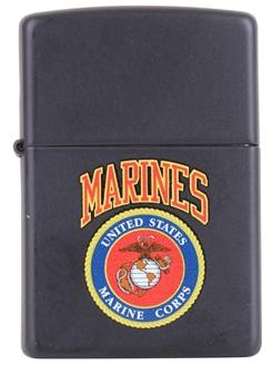 Picture of USMC Emblem on Matte Black - Windproof Lighter by Zippo®