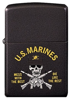 """Picture of US Marines """"Mess with the Best"""" on Matte Black - Windproof Lighter by Zippo®"""