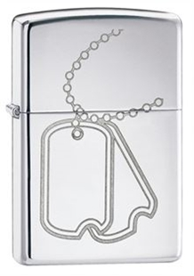 Picture of Engraved Dog Tags on High Polish Chrome - Windproof Lighter by Zippo®
