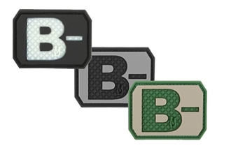 """Picture of B- (Negative) Blood Type Patch  1.5"""" x 1.125"""""""