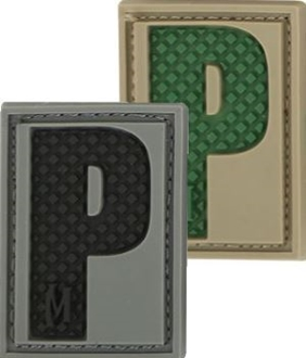 """Picture of LETTER """"P"""" PVC Patch 0.7"""" x 1.18"""" by Maxpedition®"""
