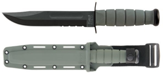 Picture of Partially Serrated Foliage Green KA-BAR® With Glass-Filled Nylon Sheath