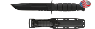 Picture of Partially Serrated Short Black KA-BAR® with Black Glass Filled Nylon Sheath