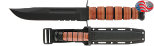 Picture of Partially Serrated USMC KA-BAR® with Glass Filled Nylon Sheath