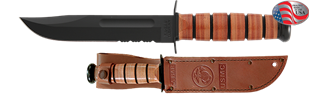 Picture of Partially Serrated USMC Combat Knife with Leather Sheath by KA-BAR®
