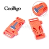 Orange 3/4 Inch Whistle Buckle with Flint Fire Starter Escaper