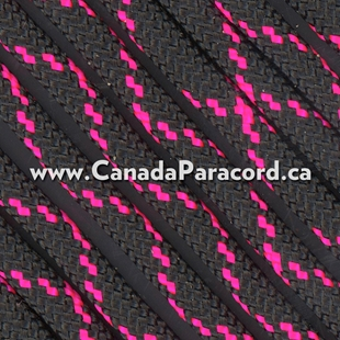 Black With Neon Pink X - 100 Ft - 550 LB Paracord