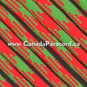 Neon Orange/Neon Green 50/50 - 100 Ft - 550 LB Paracord