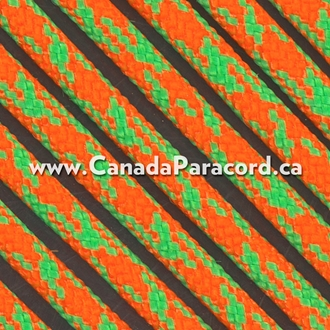 Neon Orange/Neon Green Camo - 50 Ft - 550 LB Paracord