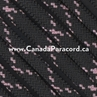 Black with Rose Pink X - 50 Ft - 550 LB Paracord