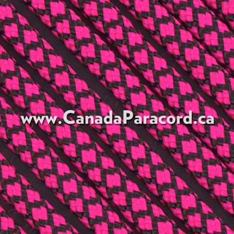 Neon Pink Diamonds - 50 Ft - 550 LB Paracord