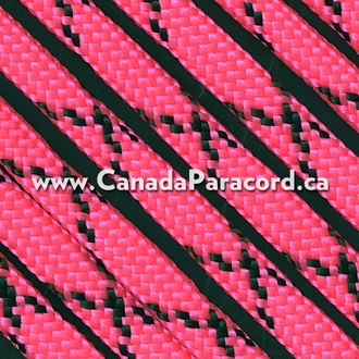 Neon Pink with Black X - 100 Ft - 550 LB Paracord