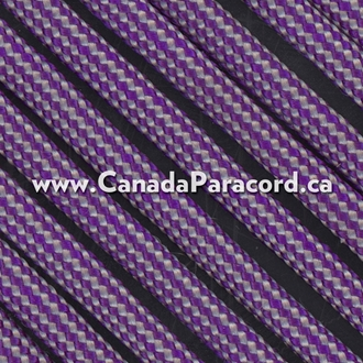 Neon Purple and Silver Stripes - 50 Ft - 550 LB Paracord