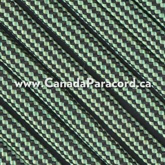 Mint and Black Stripes - 50 Ft - 550 LB Paracord