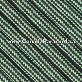 Mint and Black Stripes - 25 Ft - 550 LB Paracord