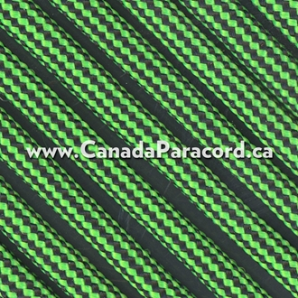 Neon Green and Black Stripes - 50 Ft - 550 LB Paracord