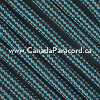 Neon Turquoise and Black Stripes - 25 Ft - 550 LB Paracord